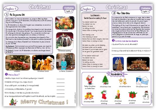 Christmas, anglais cycle 3