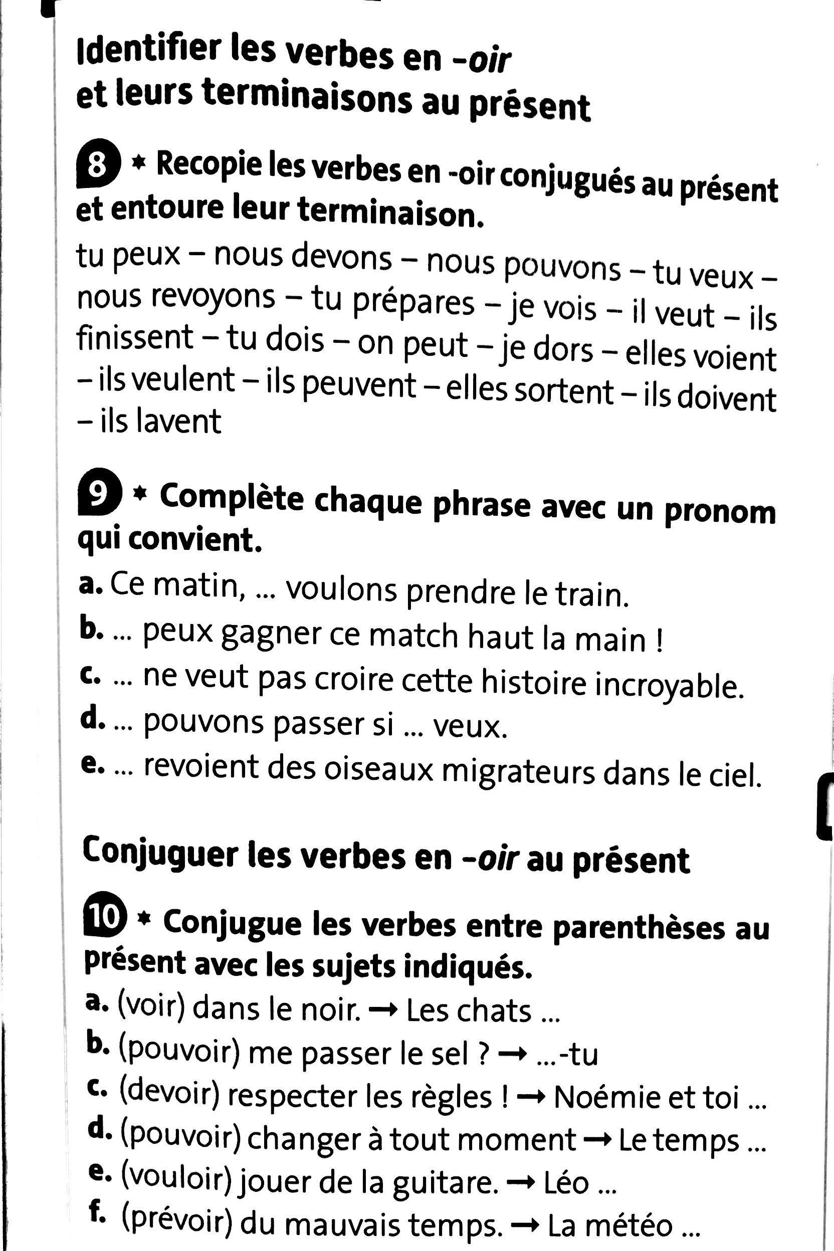 18 05 Conjugaison Present De L Indicatif Des Verbes En Oir Cm2 Mr Franzoi