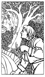 Homme des bois - from an illustrated version of Aesop's Fables by Charles Robinson, 1895 London