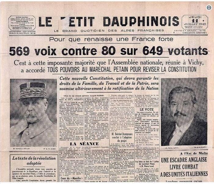 Ils refusèrent leurs voix à la dictature de Pétain *** Le 10 ...