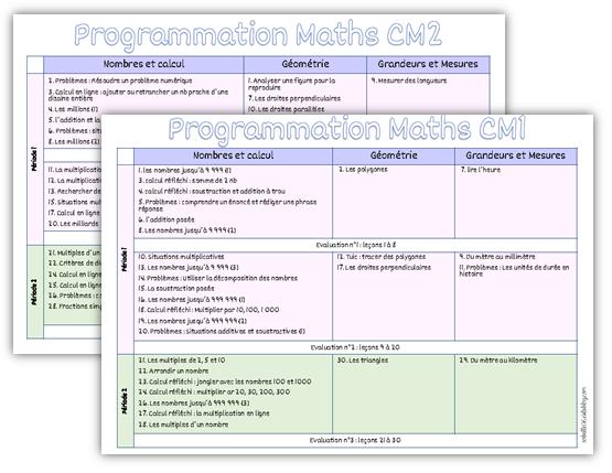 Programmations Maths Cm1 Cm2 La Trousse De Sobelle