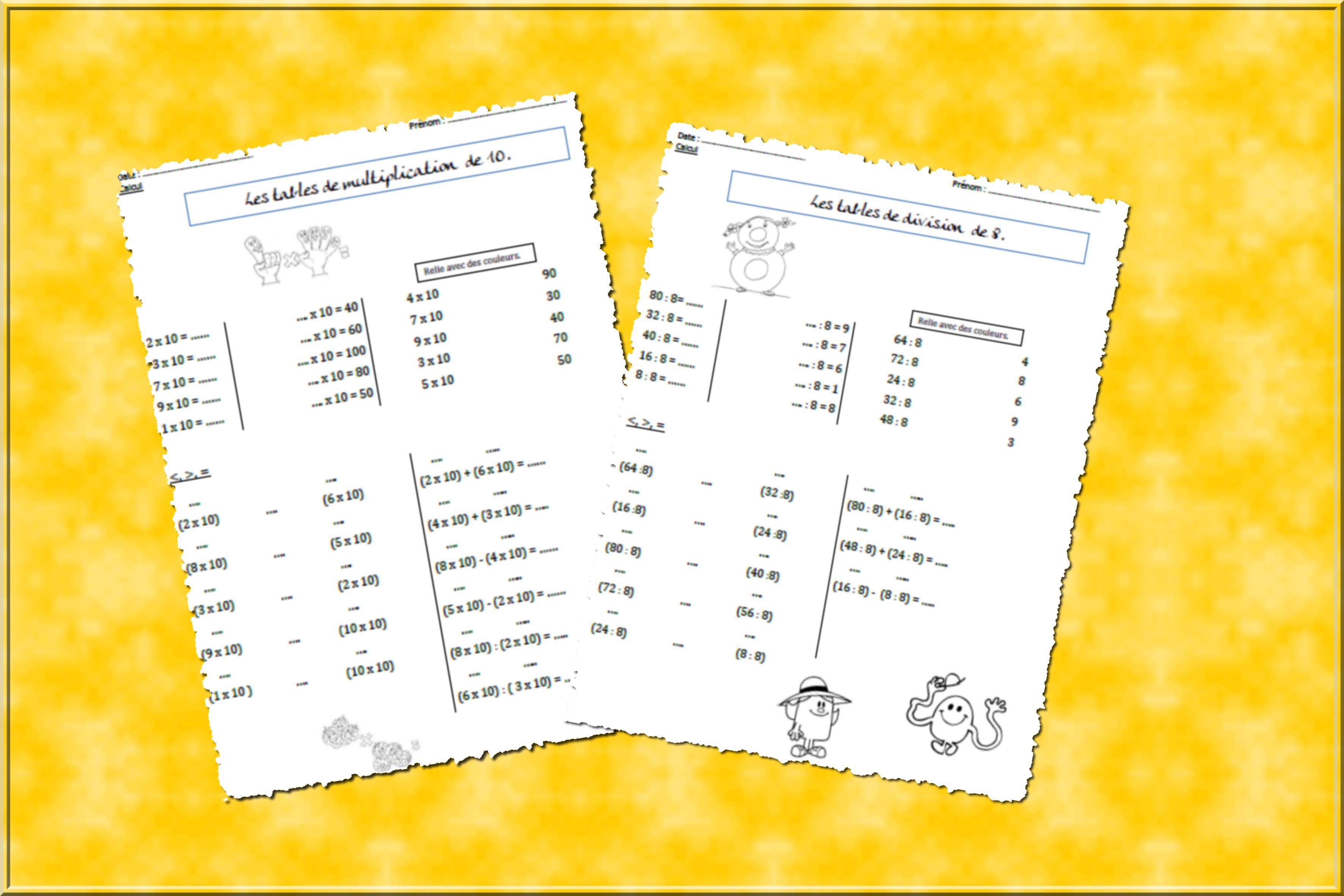 Les Tables De Multiplication Et De Division Coraliecaramel