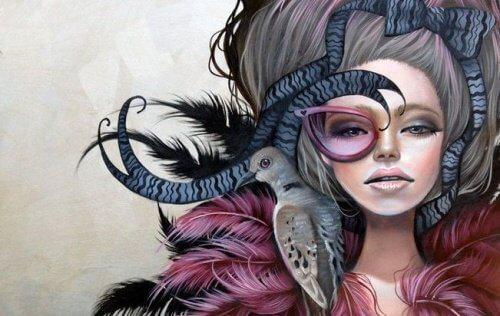 Femme-oiseau-sur-l'epaule-500x316