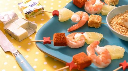 Brochettes de crevettes Kiri