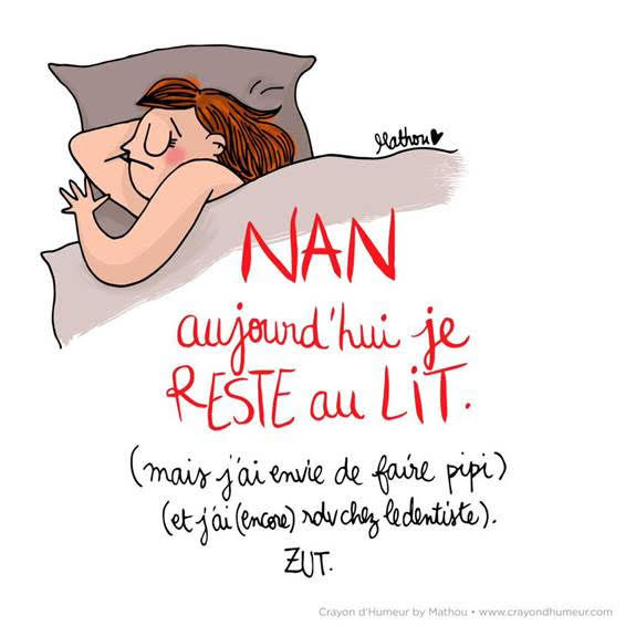 Rester au lit - Illustration de Mathou
