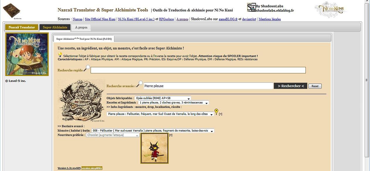 Super Alchimiste Tool by ShadowsLabs pour Ni No Kuni