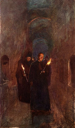 « A Procession in the Catacomb of Callistus », Alberto Pisa, 1905.