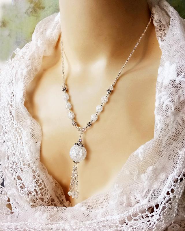 Collier pendentif Quartz blanc craquelé et Cristal de Swarovski / Argent 925