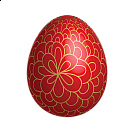 Large Red Easter Egg With Gold Ornaments