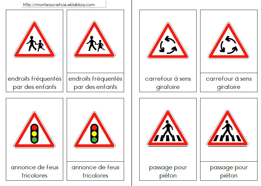 Nouvel Sécurité routière : Les panneaux routiers - Montessori EtCie FB-26
