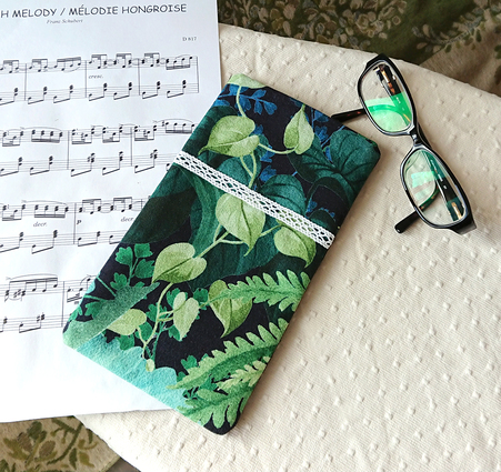 Version 2 - Etui molletonné téléphone mobile, lunettes, maquillage, 20 x 11,3 cm, tissu coton Forêt tropical Vert Bleu / fermeture bouton pression