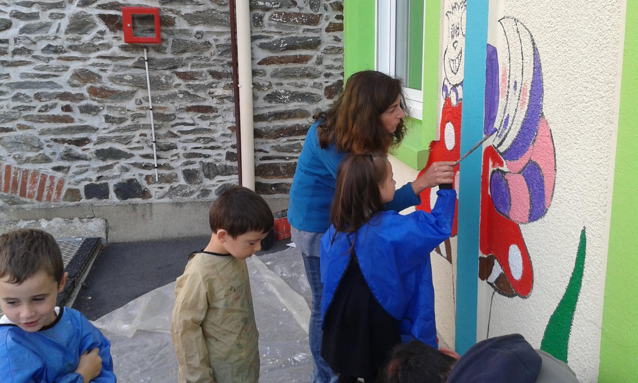 Peindre Une Fresque Sur Un Mur peindre une fresque pour décorer les murs de l'école - ecole