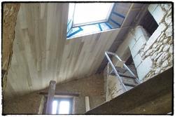 Lambris peuplier au plafond