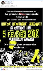 Appel à la grève générale à partir du 5 février 2019