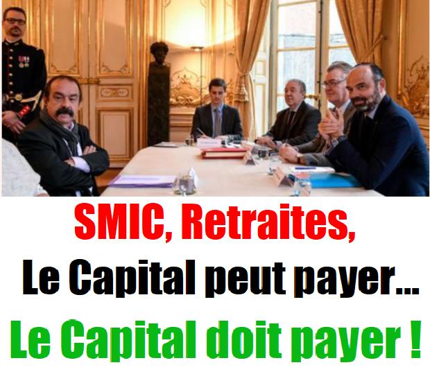 - Retraites, Relèvement du SMIC, l'argent existe, c'est la valeur créée par le travail! et accaparé par les gros actionnaires capitalistes !