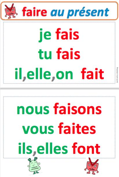 """Resultat d'imatges per a """"faire au présent"""""""